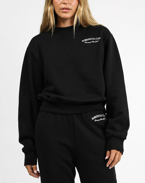 This is an image of the Babes Social Club Best Friend Crew Neck Sweater in Black by Brunette the Label.