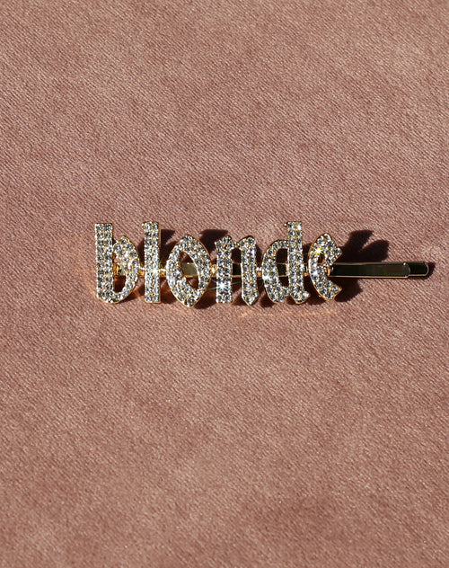 This is a photo of the Blonde Rhinestone Hair Clip in Gold by Brunette the Label.