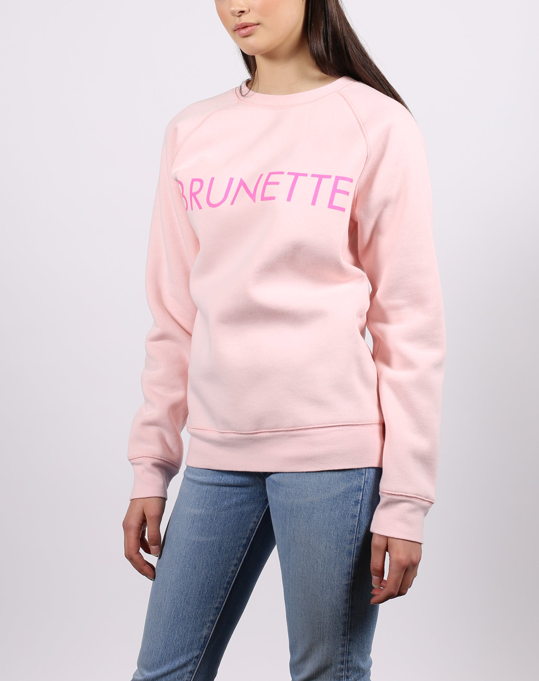 this is a photo of the brunette classic crew neck sweatshirt in ballet slipper by brunette the label.