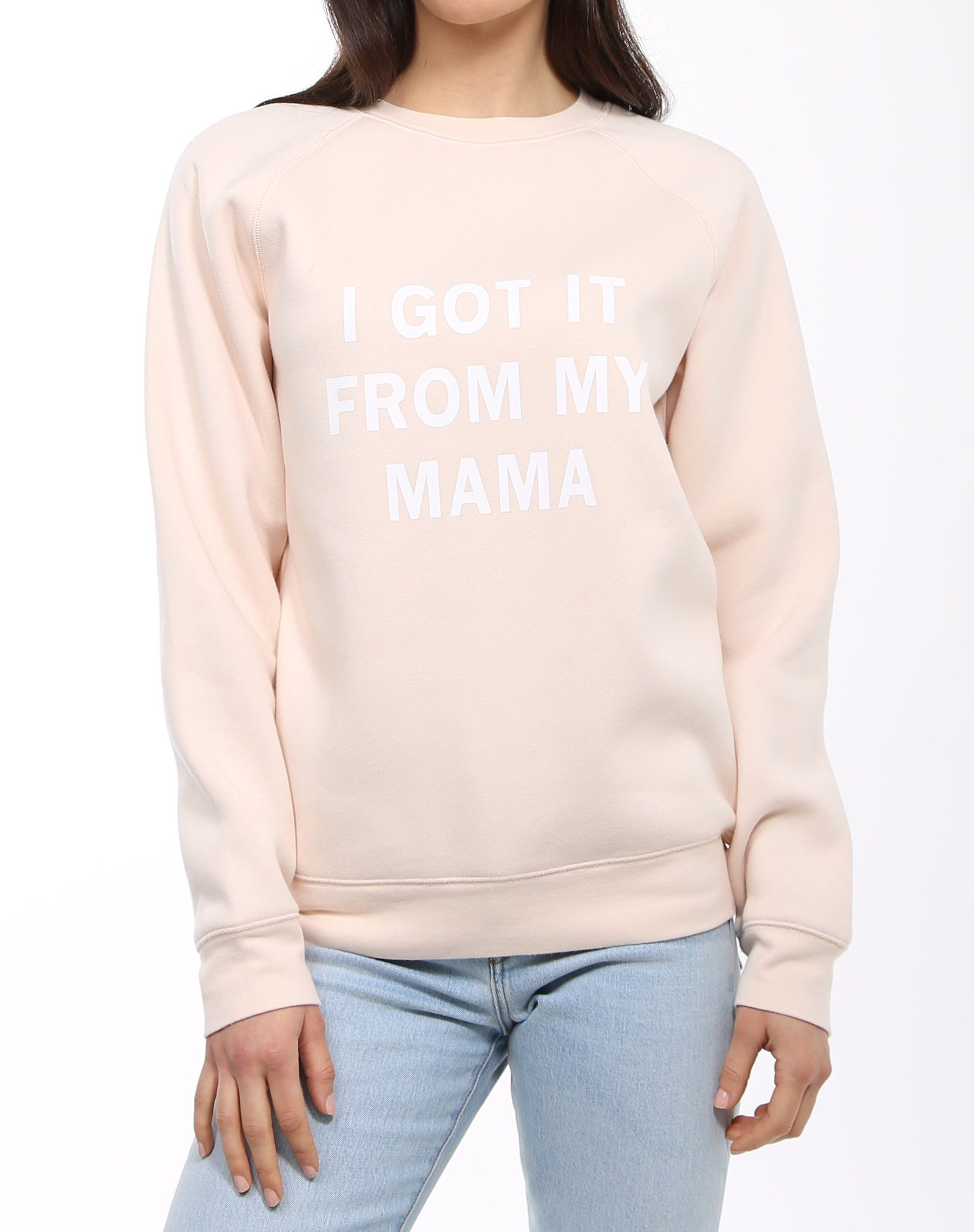 Photo 3 of the I Got it From My Mama classic crew neck sweatshirt in peach crush by Brunette the Label.