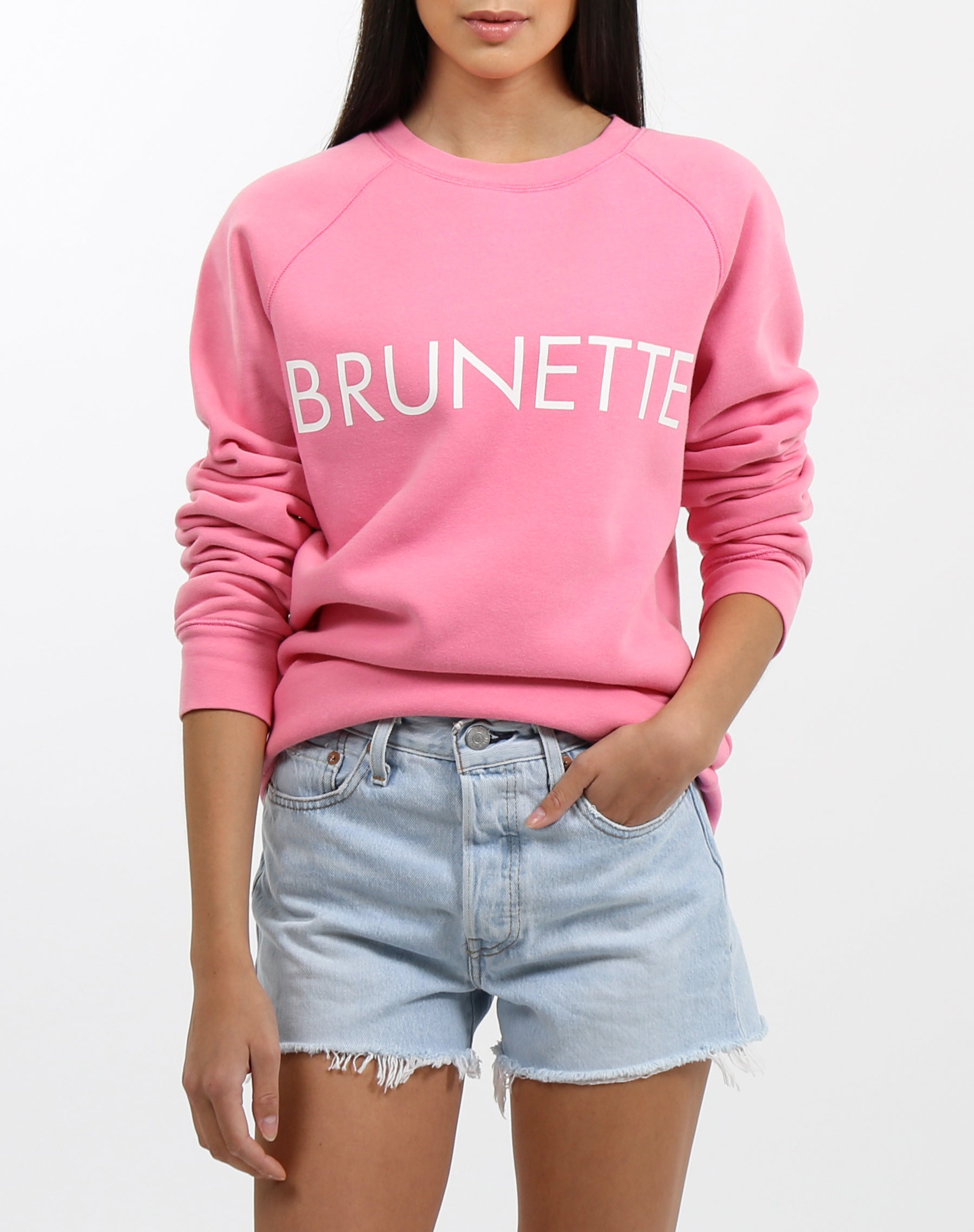 Photo 2 of the Brunette classic crew neck sweatshirt in hot pink by Brunette the label.