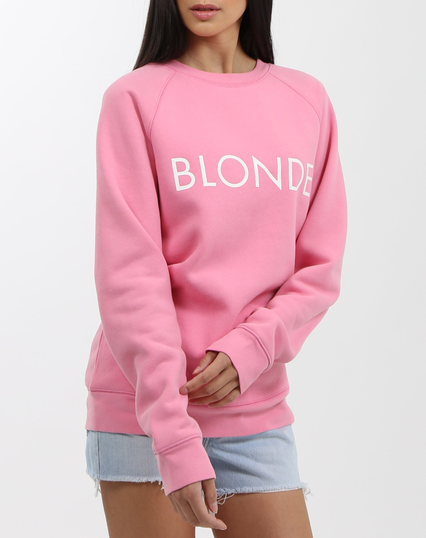 Photo 2 of the Blonde classic crew neck sweatshirt in hot pink by Brunette the Label.