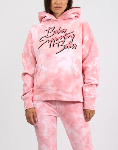 "The ""JUICY X BRUNETTE"" Pink Marble Tie-Dye Biker Short 