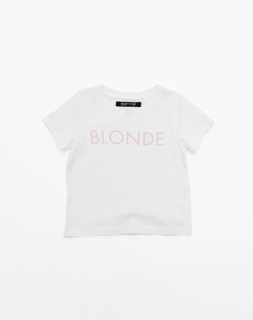 Photo of the Blonde classic crew neck tee in pink by Brunette the Label.
