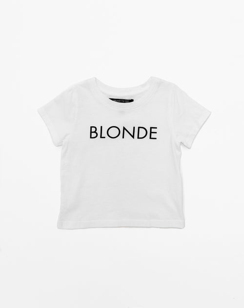 Photo of the Blonde classic crew neck tee in black by Brunette the Label.