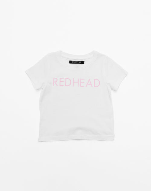 Photo of the Redhead classic crew neck tee in pink by Brunette the Label.