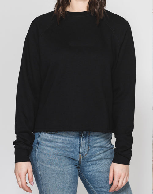 "The ""BLACK"" Raw Hem Middle Sister Crew Neck Sweatshirt 