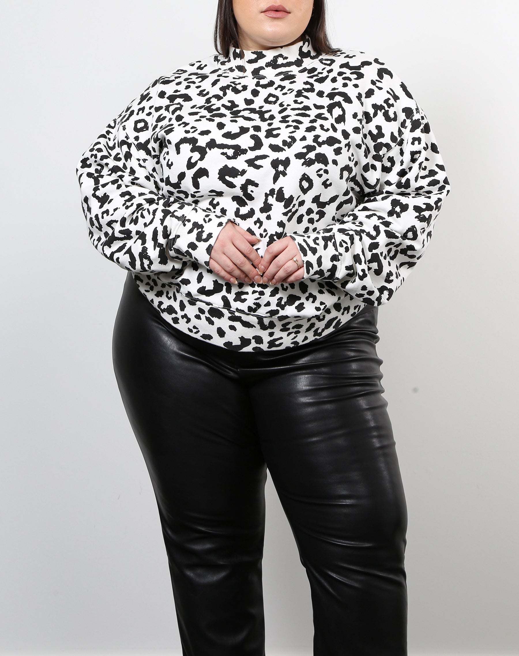 "The ""SNOW LEOPARD"" Mock Neck Step Sister Sweatshirt 
