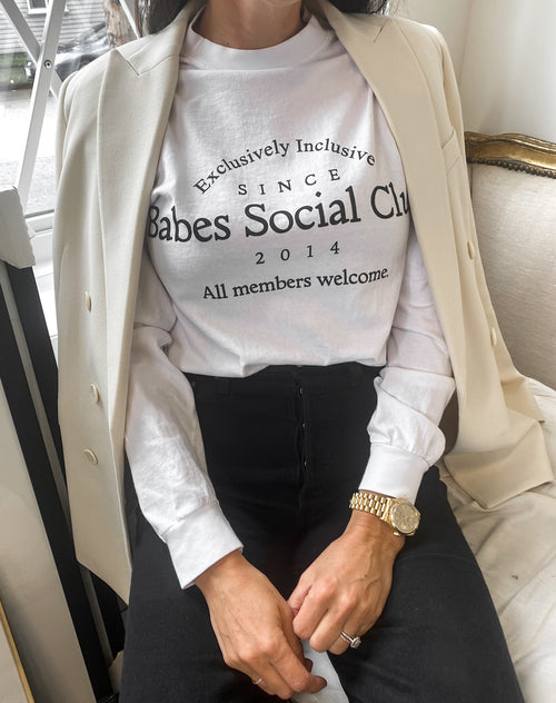 This is a photo of the Babes Social Club Long Sleeve White Tee by Brunette The Label
