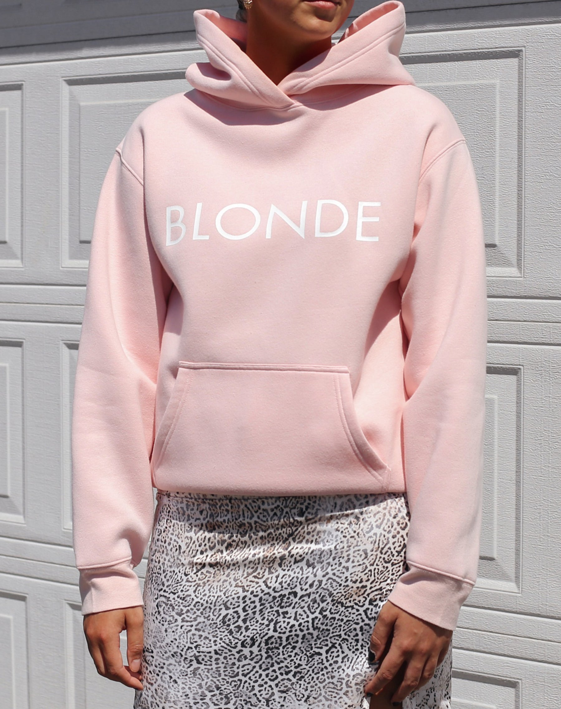 This is a photo of the Blonde Classic Hoodie in Ballet Slipper by Brunette the Label.