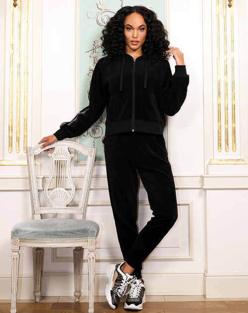 "The ""BRUNETTE LOVES JUICY"" Black Velour Jogger 