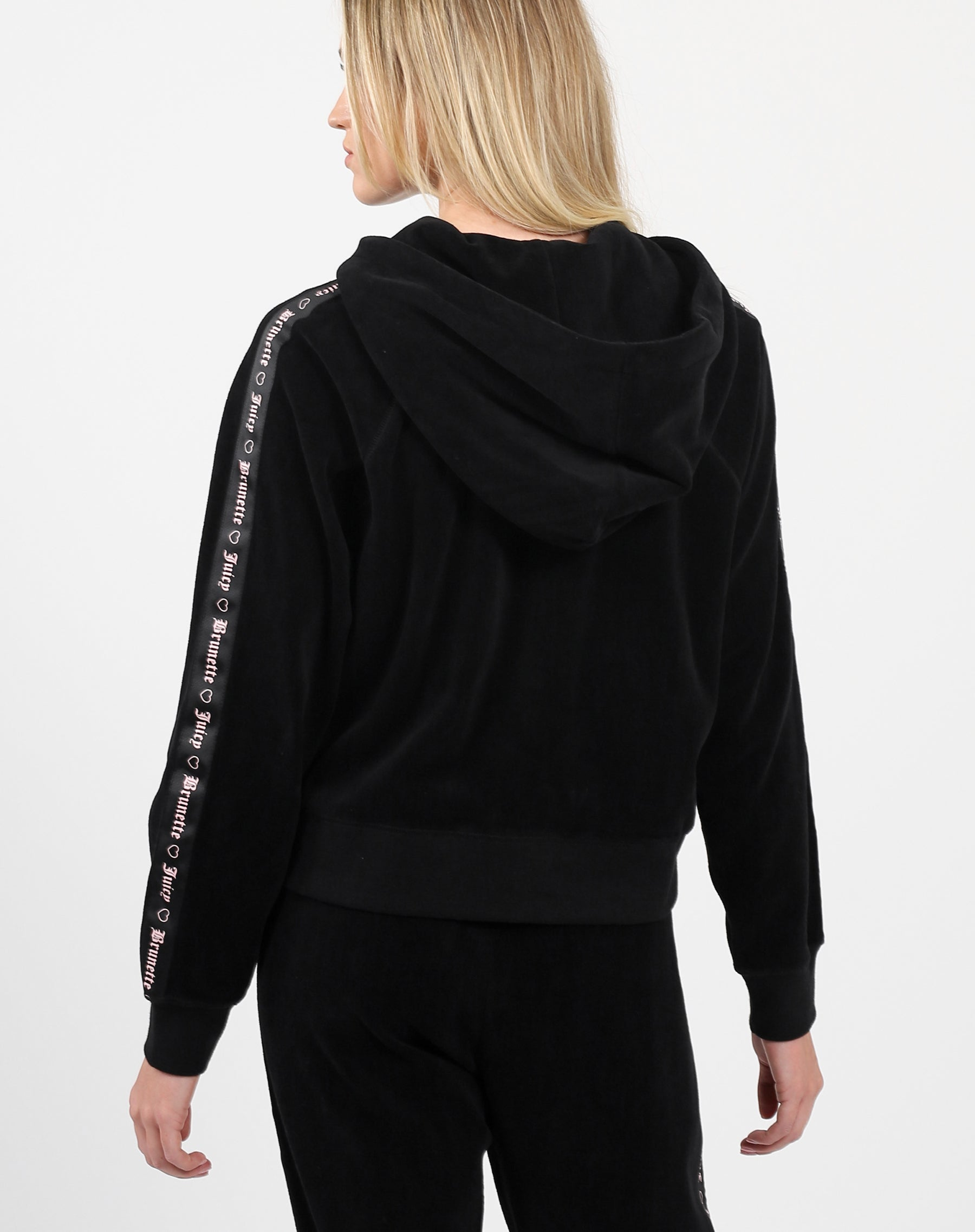 "The ""BRUNETTE LOVES JUICY"" Black Velour Track Jacket 