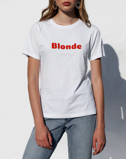 Photo of the Blonde classic crew neck tee in white for the Canada Day collection by Brunette the Label.