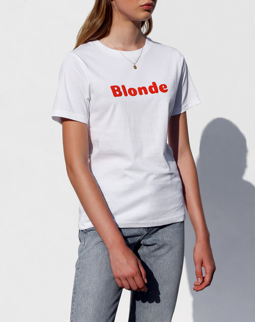 Side photo of the Blonde classic crew neck tee in white for the Canada Day collection by Brunette the Label.