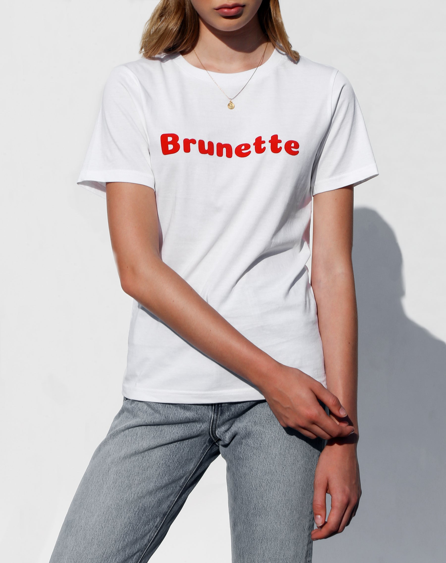Photo of the Brunette classic crew neck tee in white for the Canada Day collection by Brunette the Label.