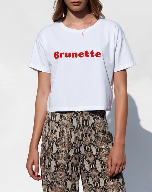 Photo of the Brunette cropped tee in white for the Canada Day collection by Brunette the Label.