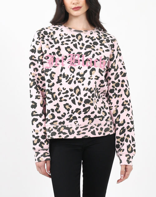 "The ""JET BLACK"" Pink Leopard Middle Sister Crew Neck Sweatshirt 