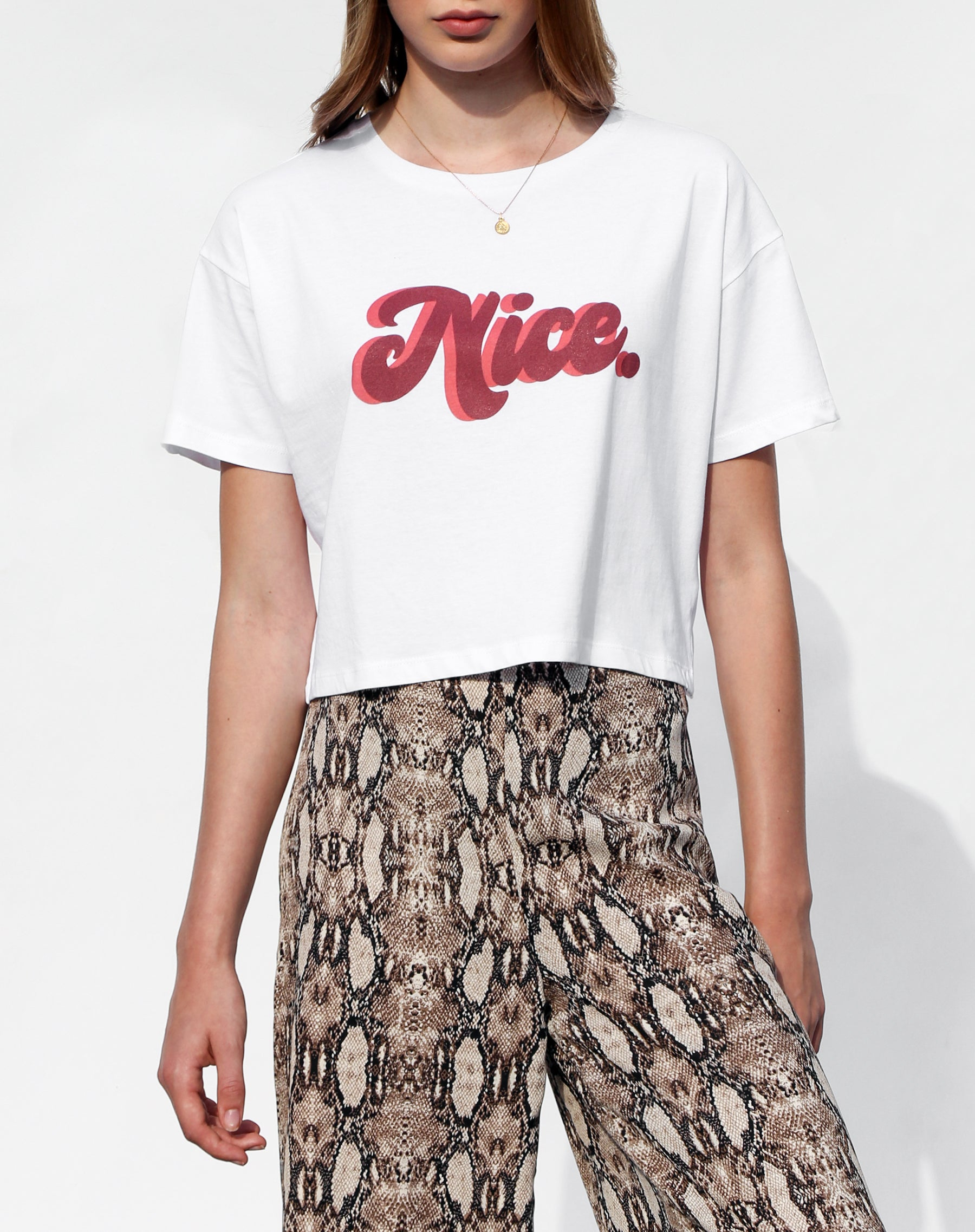 Photo of the Nice cropped white tee from the Canada Day collection by Brunette the Label.