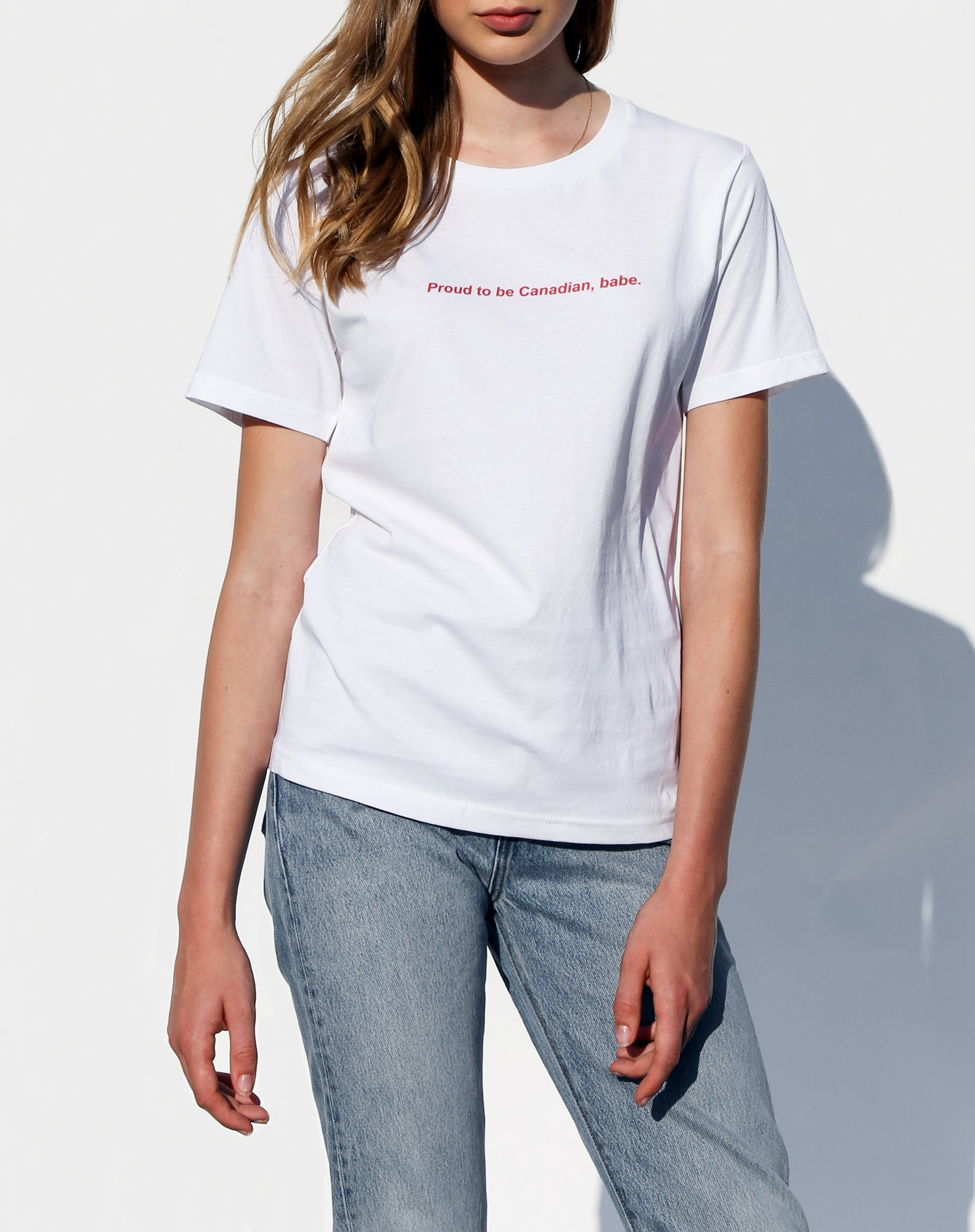 Photo of the Proud to be Canadian classic crew neck tee in white from the Canada Day collection by Brunette the Label.