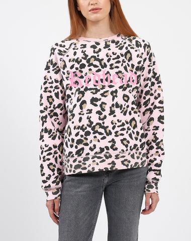 "The ""BRUNETTE"" Pink Leopard Middle Sister Crew Neck Sweatshirt 