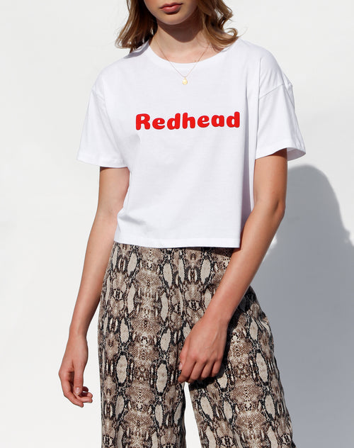 Photo of the Redhead cropped crew neck tee in white for the Canada Day collection by Brunette the Label.