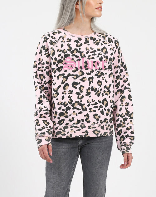 "The ""SILVER"" Pink Leopard Middle Sister Crew Neck Sweatshirt 
