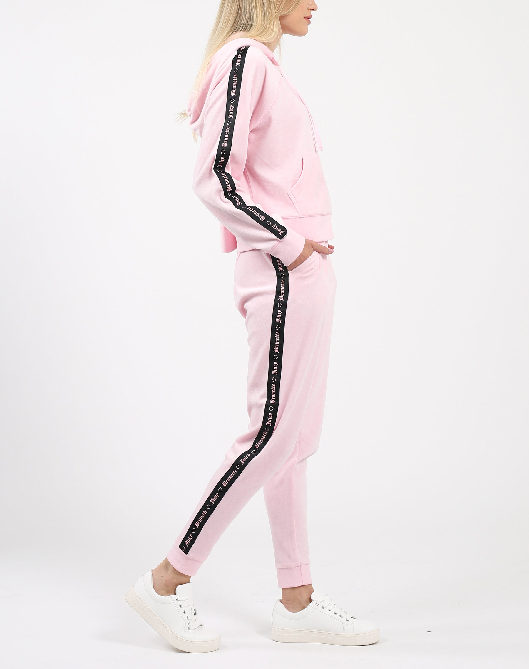 "The ""BRUNETTE LOVES JUICY"" Pink Velour Jogger 