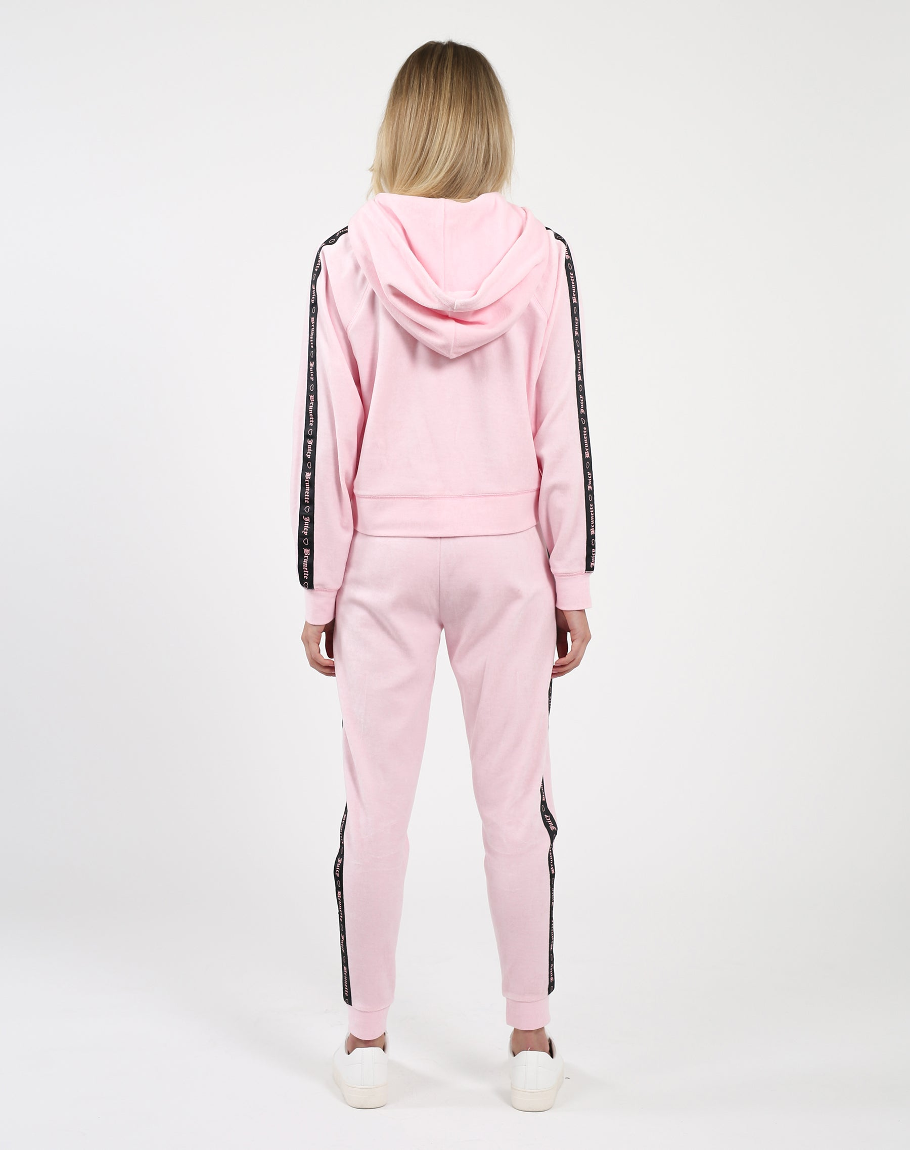 "The ""BRUNETTE LOVES JUICY"" Pink Velour Track Jacket 