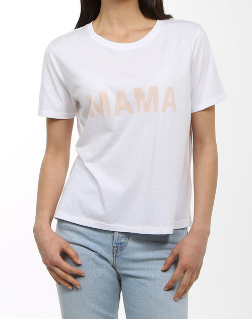 Photo of the Mama crew neck tee in white by Brunette the Label.