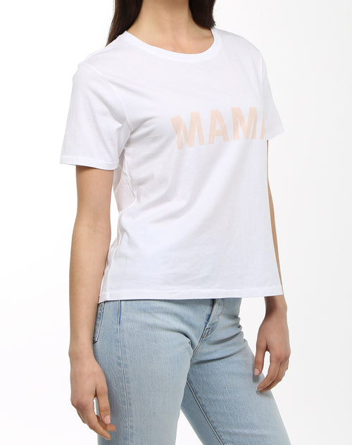 Side photo of the Mama crew neck tee in white by Brunette the Label.