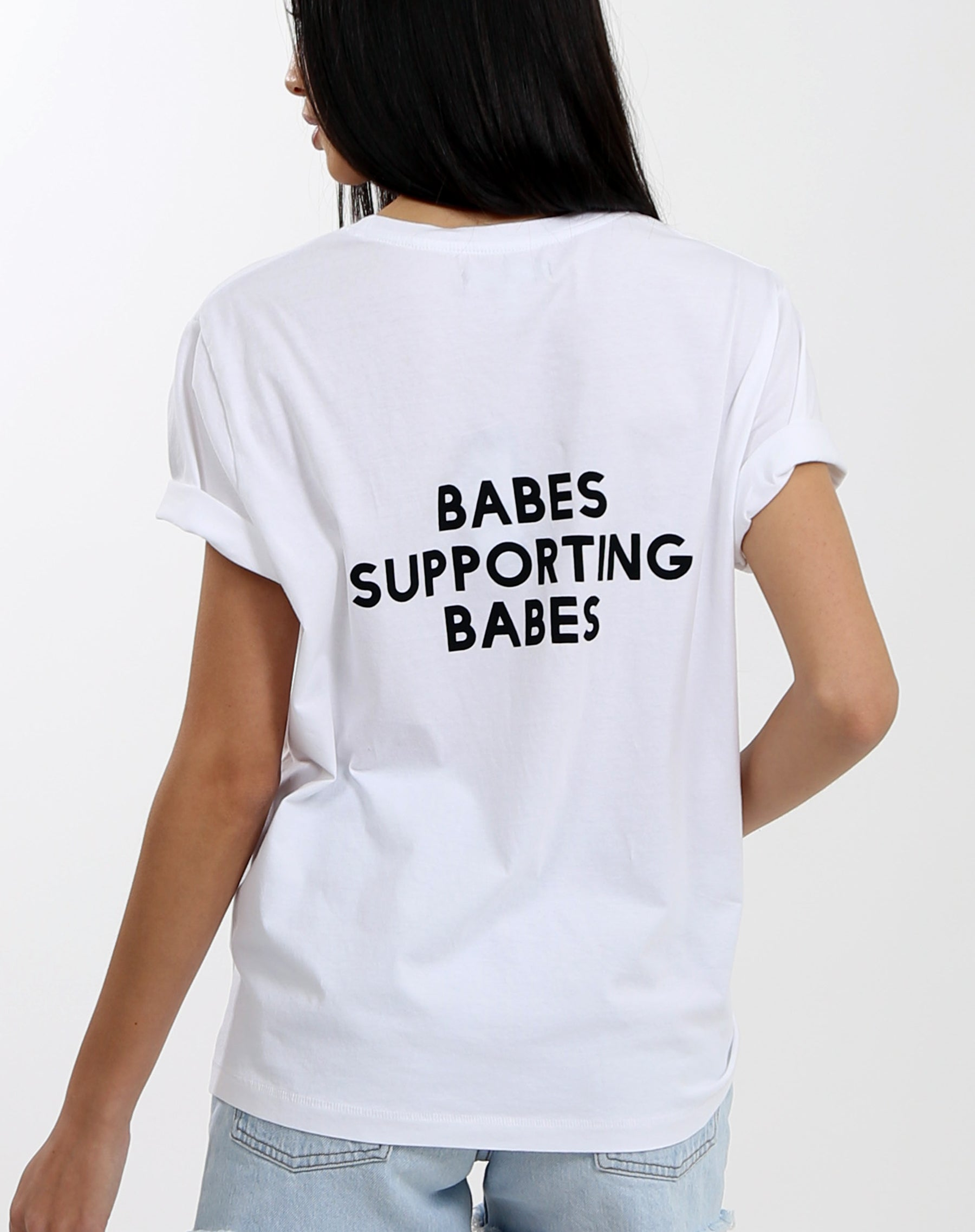 Photo of the back of the  Babes Supporting Babes crew neck tee for the Vision Program in black by Brunette the Label.