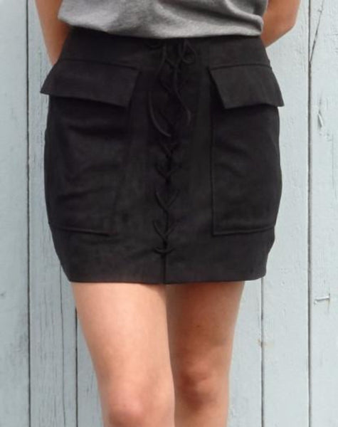 "The ""Stevie"" Faux Suede Lace-Up Skirt - BLACK"