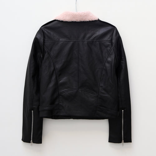 The Florence Vegan Leather Moto Jacket w/ Shearling Collar - PLAIN