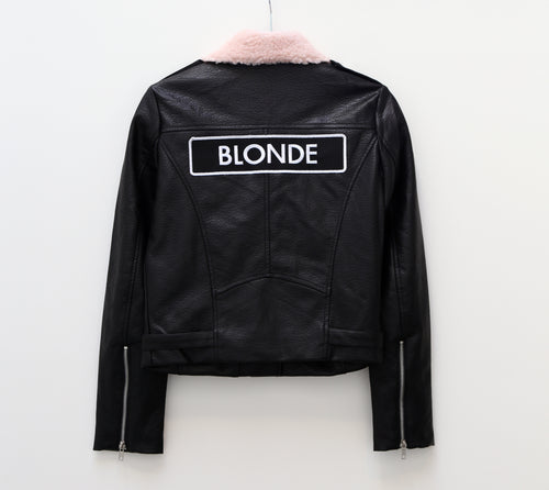 The Florence Vegan Leather Moto Jacket w/ Shearling Collar - BLONDE