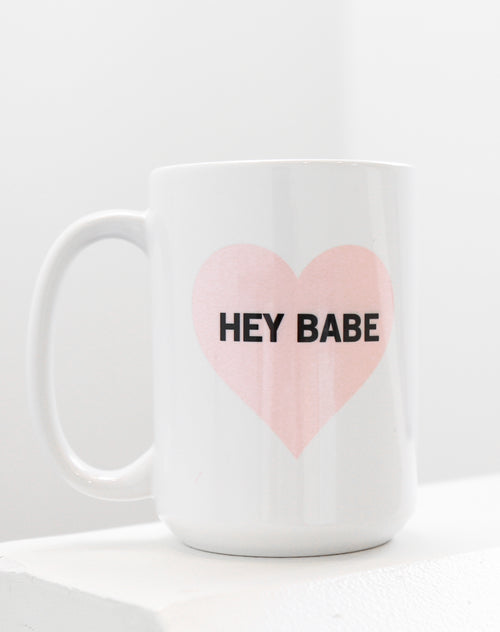 Photo of the Hey Babe Heart mug in pink by Brunette the Label.