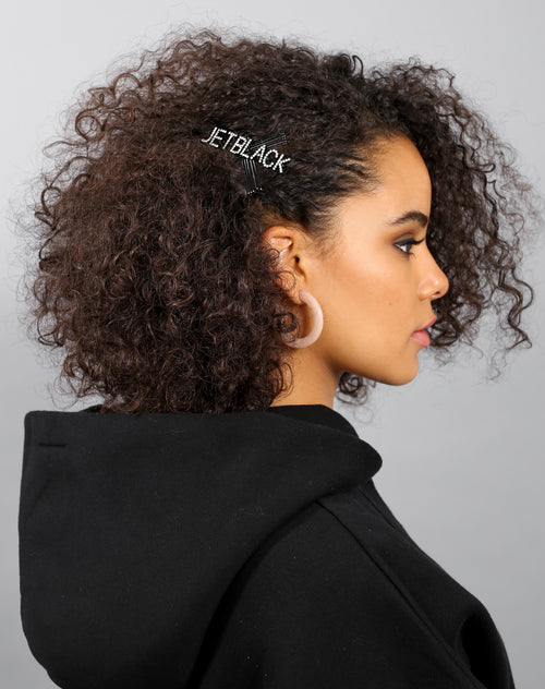 The Jet Black Hair Clip in crystal by Brunette the Label.