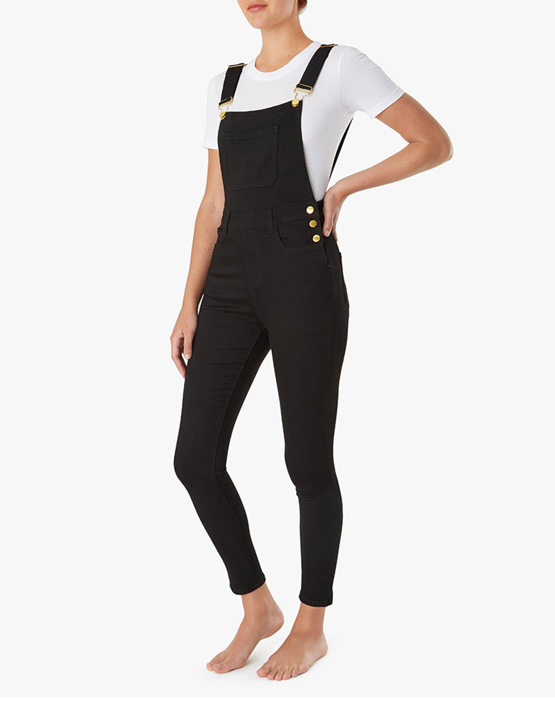 The HIGH RISE SKINNY Overalls in Black | We Wore What