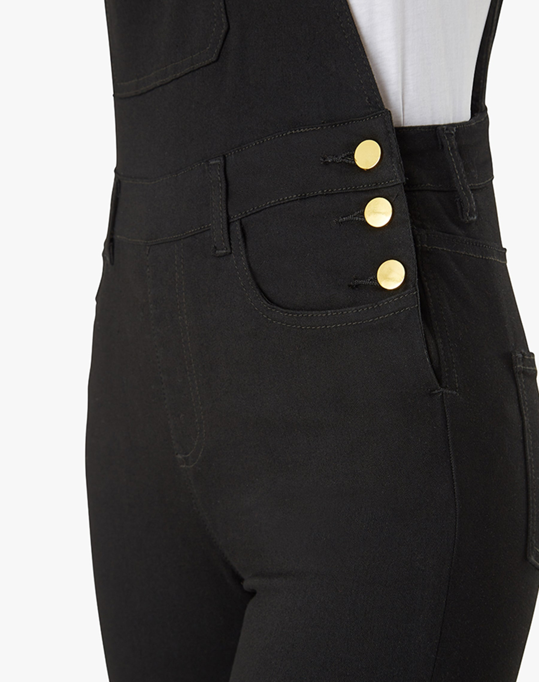 "The ""HIGH RISE SKINNY"" Overalls in Black 