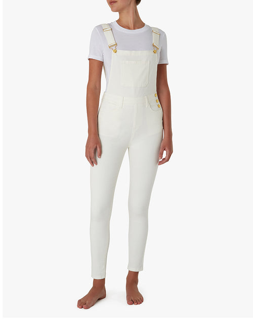 "The ""HIGH RISE SKINNY"" Overalls in White 