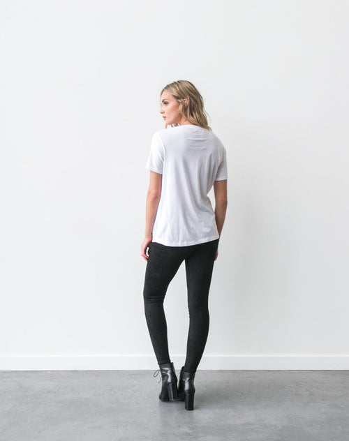 Photo of the back of the Blonde classic crew neck tee in white by Brunette the Label.