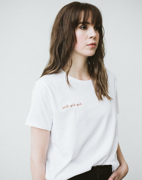 "The ""girls x 3"" Nude Text Chain Stitch Crew Neck Tee"