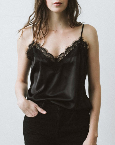 "The ""Chloe"" Lace Trim Camisole - BLACK"