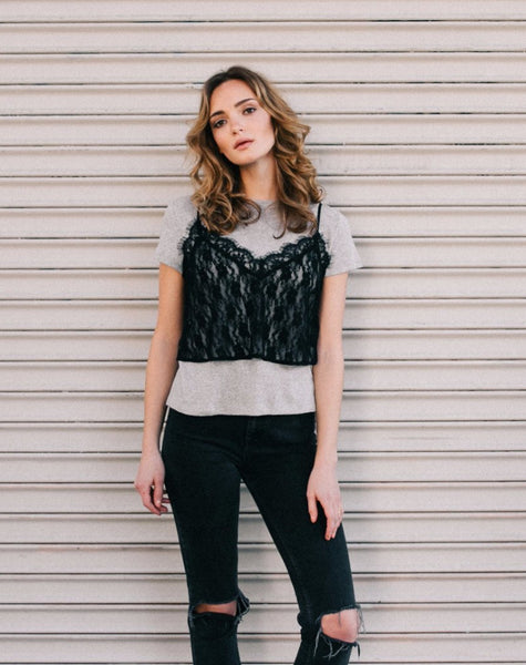 "The ""Heidi"" Lace Layering Camisole - BLACK"