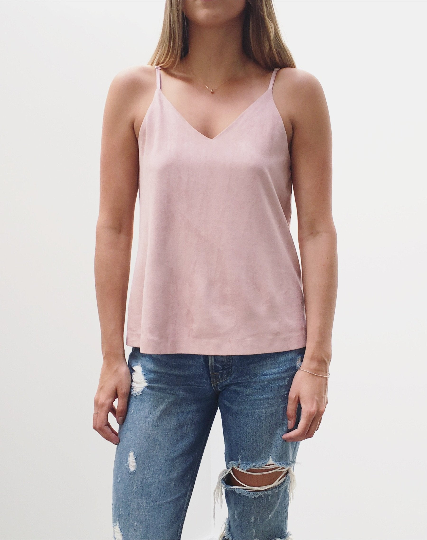 "The ""Grace"" Faux Suede Camisole - NUDE"