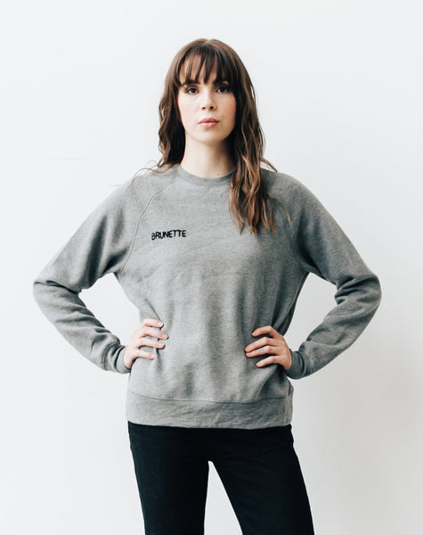 "BRUNETTE chain stitch ""middle sister"" crew in grey"