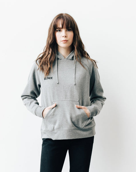 "BLONDE chain stitch ""middle sister"" hoodie in heather grey"