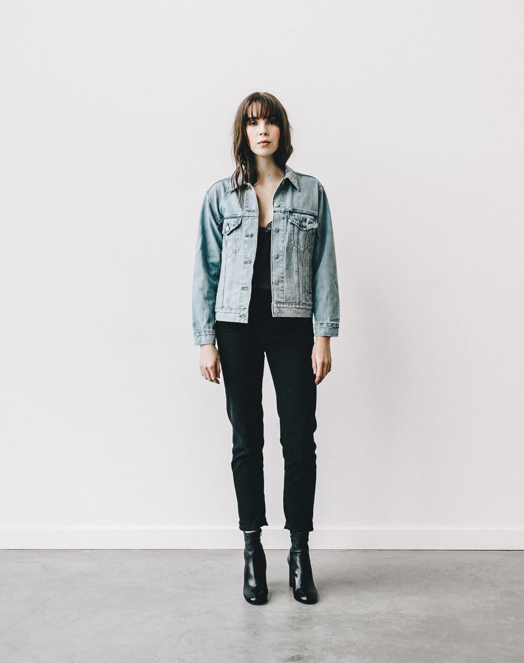 Full body photo of the Lindsay Brunette denim jacket by Brunette the Label.