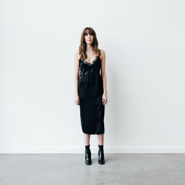 "The ""Katherine"" Satin Slip Dress - BLACK"