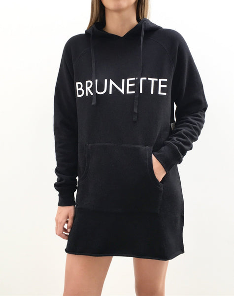 The Hoodie Dress - BLACK/BRUNETTE