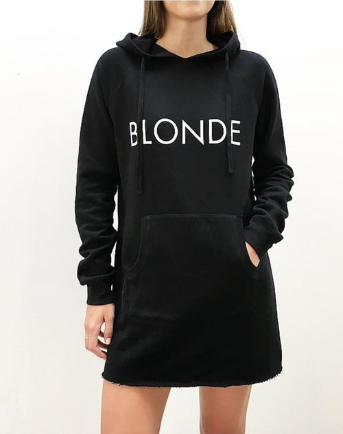 The Hoodie Dress - BLACK/BLONDE